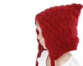 Pixie hat for girls, elf hat, hood baby girl, gnome hat, autumn accessories, fall accessories, little red riding hood