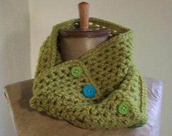 acid yellow/green cowl- crochet neckwarmer // convertible scarf