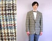 vintage 1960s sportscoat / mens wool mod Harris Tweed jacket / Rosenblatts blazer