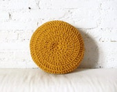 Round Pillow Crochet - mustard