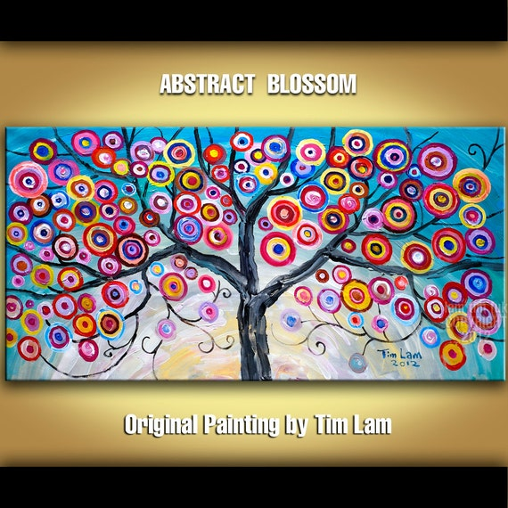 Abstract Painting Fancy Blossom Tree Art, Huge original acrylic painting, Modern deco Impasto Texture landscape painting by tim lam 48x24