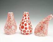 Vase Red Swirls Hand Painted Organic Shape