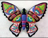"""Butterfly Metal Wall Decor - Large 34"""" Painted Metal Outdoor Garden Art  - Handcrafted Metal Art - Tropical Design - Butterflies  M900-PU-34"""