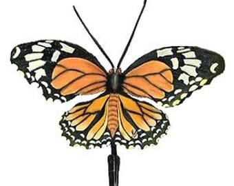 Monarch Butterfly Hook -  Hand Painted Metal Bathroom Wall Hook - Tropic Decor Garden Decor -  Handcrafted Metal Art Design - BU-517-H