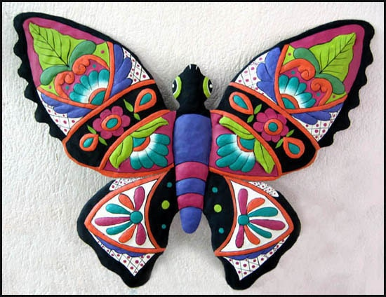 butterfly wall decor metal wall art 24 painted metal. Black Bedroom Furniture Sets. Home Design Ideas
