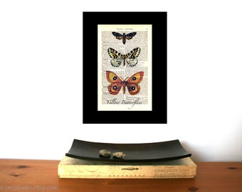 Yellow Butterflies Vintage Art Print on Antique 1896 Dictionary Book Page
