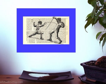Fencing Duel Vintage Art Print on Antique 1896 Dictionary Book Page