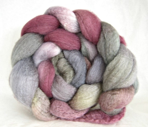 bfl silk roving, hand painted roving, spinning fiber: combed top