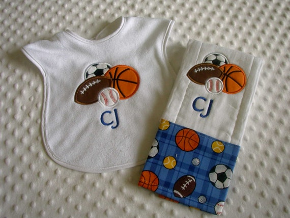 Baby Boy Personalized  Bib and Burp Cloth Set - Football, Soccer, Basketball and Baseball- Most Valuable Player