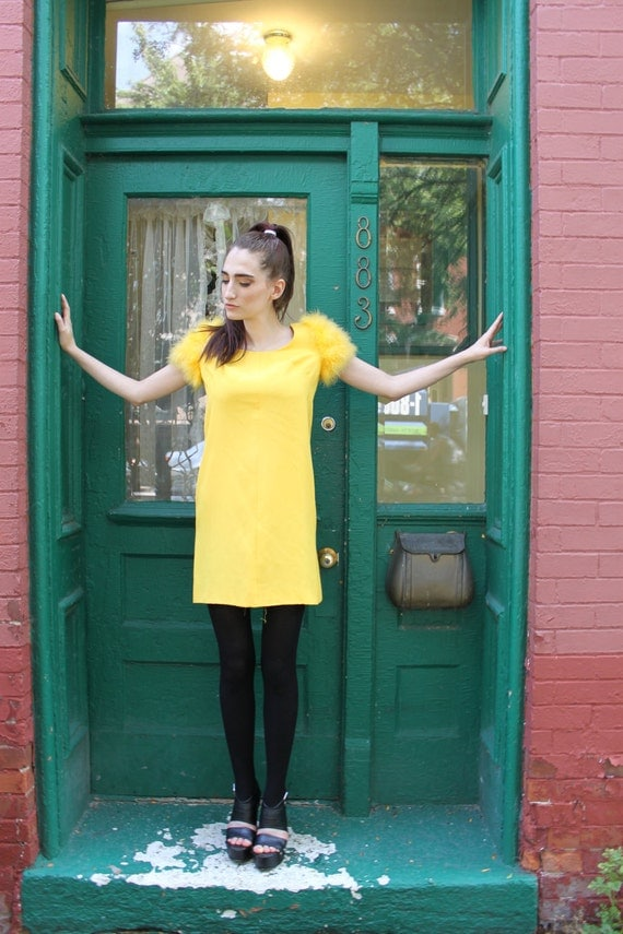 Dress 1960s Vintage 60s Bright Yellow FEATHERS Feather MOD Mini Skirt Cocktail S Small M Medium