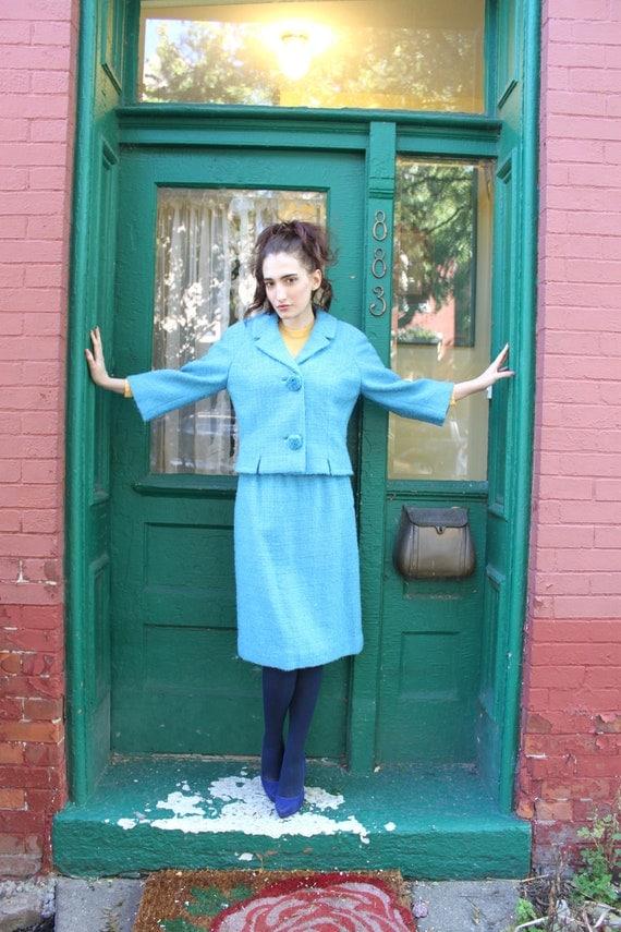 Suit Jacket Skirt 1960s 60s 1950s 50s Vintage Mad Man Blue Boucle High Waist M Medium