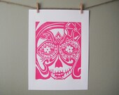 Hand pulled block print of Sugar Skull in Hot Pink