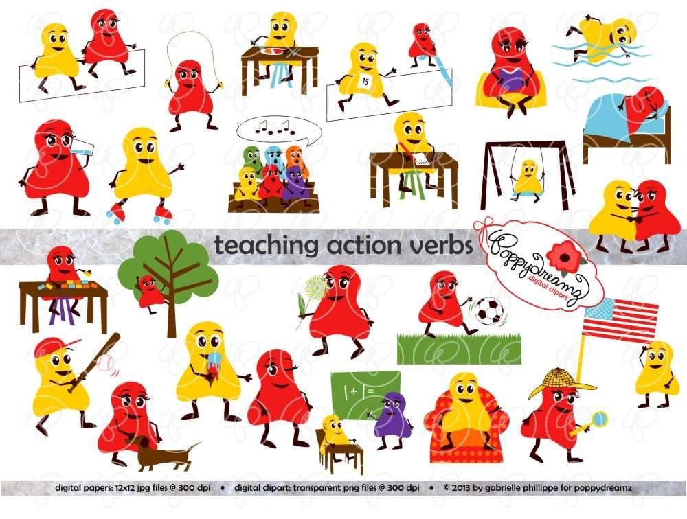 Teaching Action Verbs Clipart & Digital Flashcards: Digital