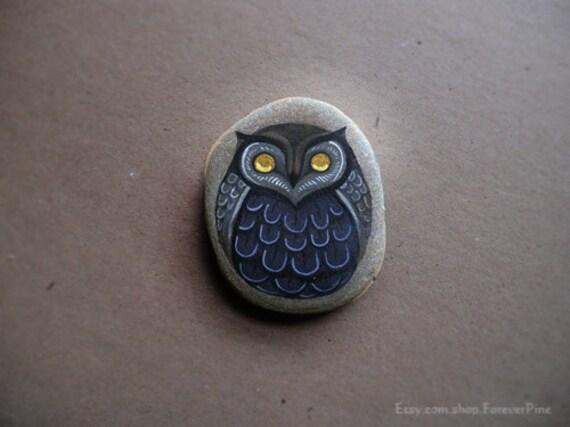 OOAK Purple Painted Stylized Halloween Owl - Seneca Lake Stone