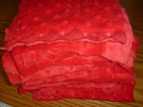 Red Dimple Dot Minky Fabric Scraps..44 Pieces of Approximate 6 Inch Squares-Destash