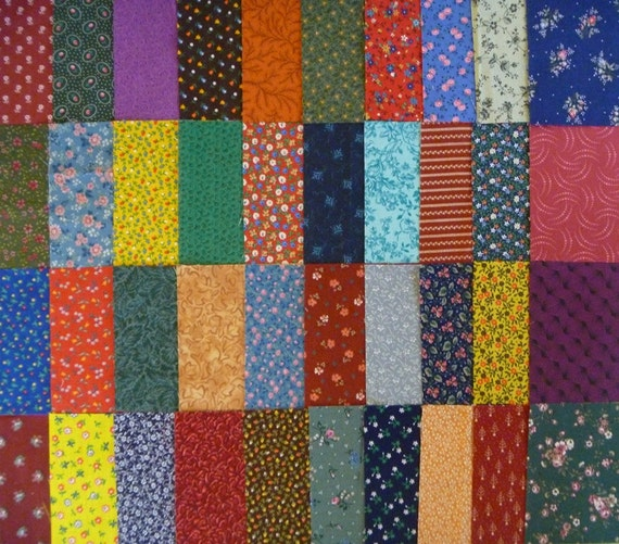 40 Assorted 4 Inch Squares of Vintage and Newer Cotton and Calico Fabrics-4 Inch Quilt Squares-Fabric Scraps-Set 3