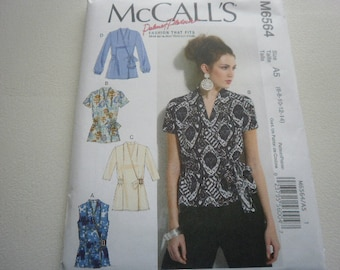 Pattern Ladies Tops 4 Styles Sizes 6 to 14 McCalls 6564 A