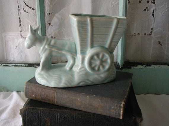 Vintage Ceramic Planter Donkey and Cart Light Aqua Color