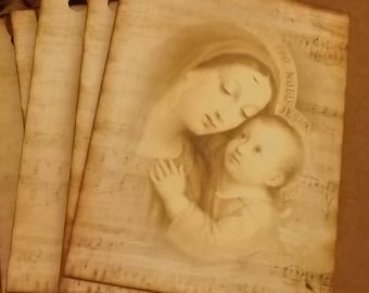 8 Infant Jesus & Blessed Virgin Mary Vintage Holy Card Inspired Christmas Gift Tags