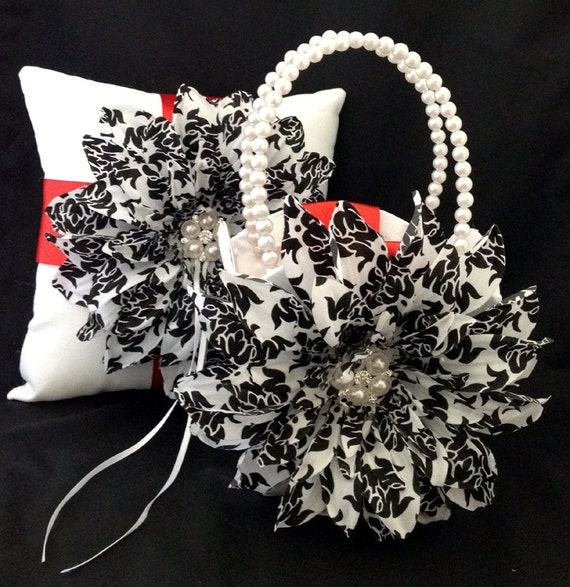 Damask Flower Girl Basket And Ring Pillow : Unavailable listing on etsy