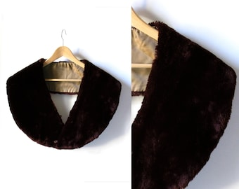 SALE - Faux Fur Shawl - Deep Brown - Venus in Faux Furs - 1960 - Very soft