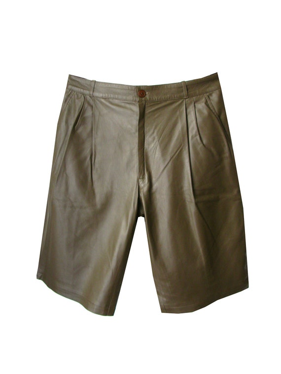 Soft leather chino shorts - Man clothing - Brown - Size 54 European