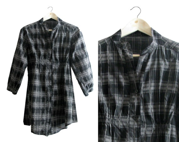 SALE - Grey Plaid Shirt Dress - Three Quarter Sleeves - 1990