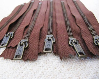 5inch - Milk Chocolate Brown Metal Zipper - Brass Teeth - 6pcs