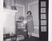 Lady Standing by TV Vintage Photograph (ZZ)