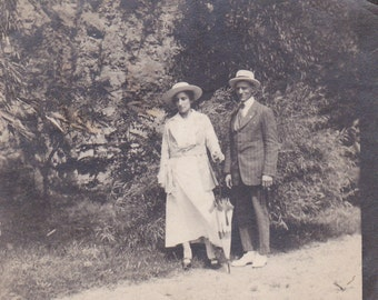 Man and Lady With Umbrella -  Vintage Photograph (M)