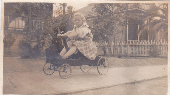 RESERVED for Rickster -Little Girl in Wagon Vintage Photograph (OO)
