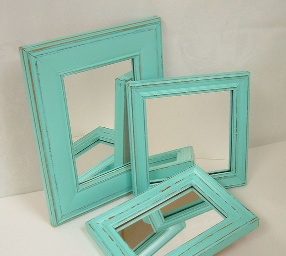 Shabby Chic Home Decor Aqua Turquoise Mirror Set Distressed Wood Frames Wall Decor