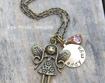 "Antique gold nature fairy with personalized circle and vintage pink drop for your little ""big"" girl"