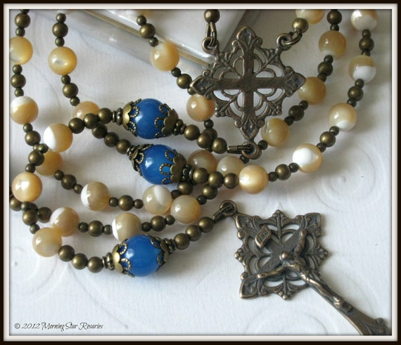 Womens Catholic Rosary, Blue Agate & Mother of Pearl Rosary in Bronze Beaded Vintage Style