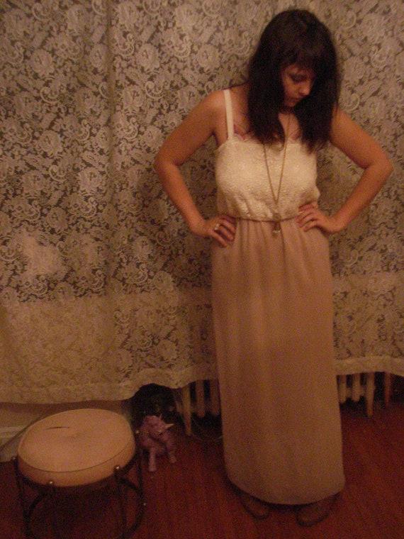 Nude Lace Maxi Dress