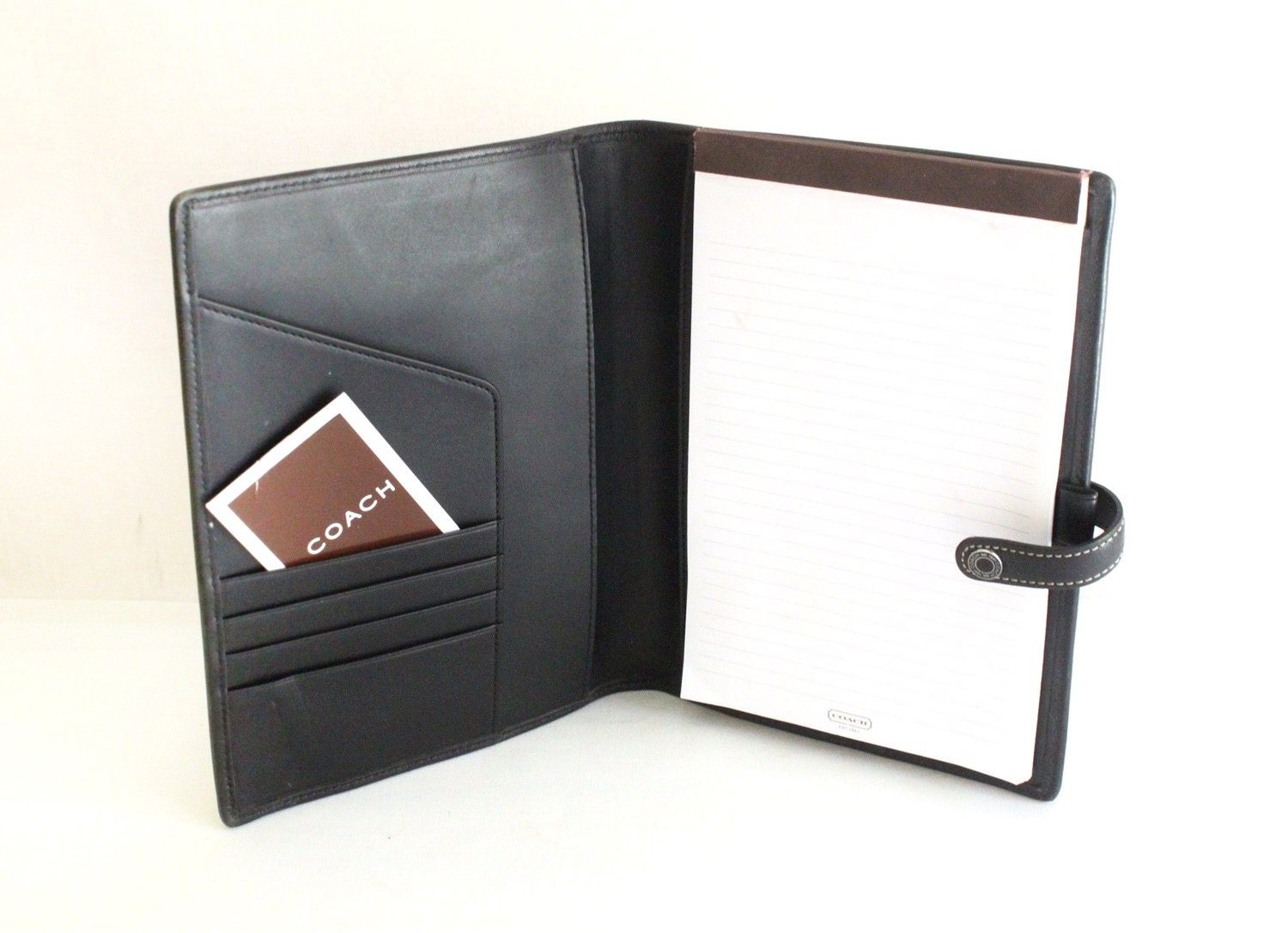 Vintage Coach Black Leather Planner Notebook Cover Notepad