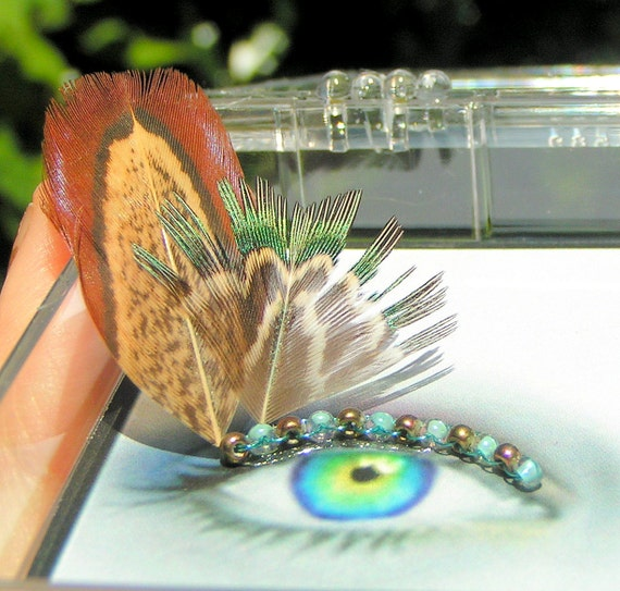 Pheasant Feather Eyelash Jewelry - feather false eyelashes with teal and copper feathers