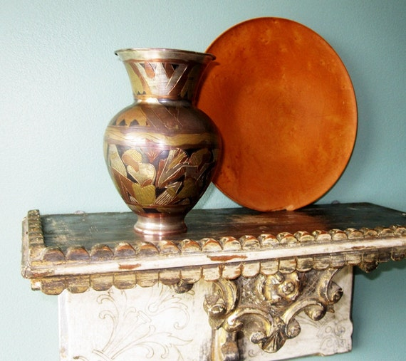 Etched Brass and Copper Vase- Ancient Egyptian Motif