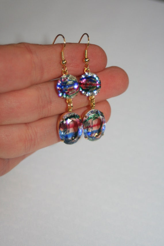 Vintage rainbow Iris crystal Double dangle 18ct gold plated brass earrings