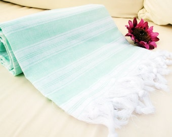 Organic Peshtemal ,Mint Eco Friendly,Natural High Quality Hand Woven Turkish Cotton Bath,Beach,Spa,Yoga,Pool Towel,Seat Cover,Tablecloth