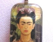Frida Kahlo Day of the Dead insipired loteria pendant