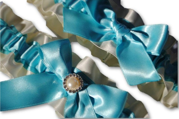 """Wedding Garter Set , beautiful blue and ivory with Pearl """"""""""""""""""""""""""""""""SALE"""""""""""""""""""""""""""""""""""