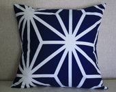 Navy and White Graphic Print Pillow Cover