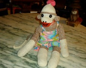 1960s vintage Clown looking sock monkey Super cute Rad little guy wearing colorful overalls