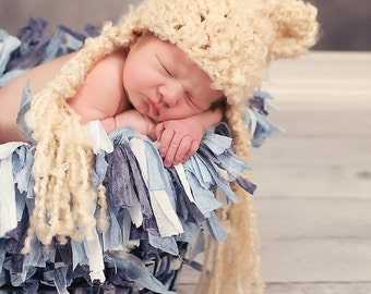 Cuddly Fuzzy Bear Crochet Hat Photo Prop CUSTOM colors and size