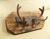 Rustic Cast Iron Deer Antler coat rack  -- lodge cabin decor -- rich patina on cast iron hooks and western cedar