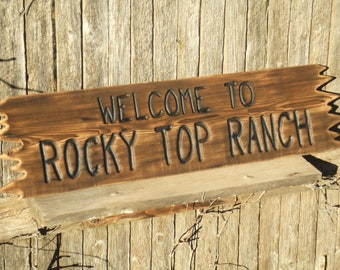 CUSTOM wood Welcome  sign -- hand carved -- rustic un painted -- your name or numbers on reclaimed western cedar