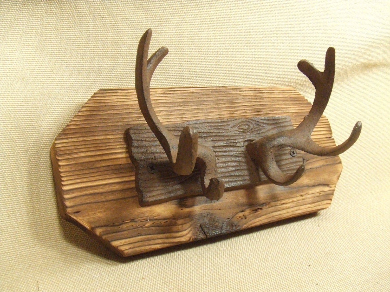 Rustic Cast Iron Deer Antler Coat Rack Lodge Cabin Decor