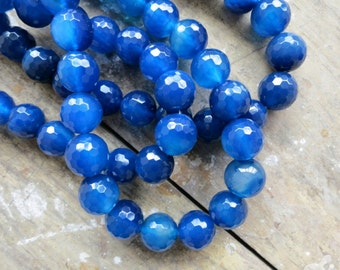 Blue Fire Agate 12mm Faceted Round Designer Beads-- 33pcs Full Strand