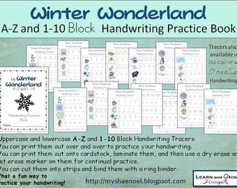 Alphabet and Number Winter Themed Block Handwriting Practice Book, upper and lowercase letters included